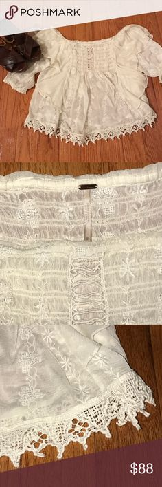 Beautiful Spirit in the Sky Blouse Beautiful Sheer Ivory Material with Intricate Detailing.  Blouse is worn off the Shoulders with 1/2 Length Sleeves.  Has Never been worn and is in Perfect Condition. Free People Tops Blouses