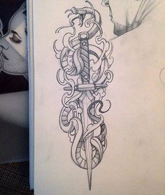 Sketchbook snake & dagger. Available to tattoo... #snakeanddagger #snakeanddaggertattoo #alexodisy