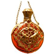 French Perfume / Scent Bottle w/ Finger Ring w/ Cranberry Glass and Omolu