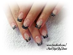Black with stamping and glitter - www.facebook.com/NailStyleByDani #naildesign #nailart #frenchnails #gel #manicure #maniküre