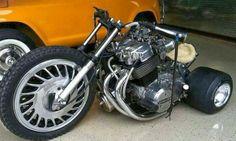 The Real Big Wheel. With a 750 Honda Motorcycle Motor Custom Trikes, Custom Motorcycles, Triumph Motorcycles, Vw Beach, Xjr 1300, Harley Davidson, Side Car, Motos Honda, Honda Ruckus