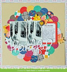 #papercraft #scrapbook #layout. Lawn Fawn - Sweater Weather Collection, Stitched Leaves Lawn Cuts _ layout by Melissa for Lawn Fawn Design Team