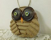 Woodland Owl Ornament, Whimsical Christmas Owl Ornament, Recycled Button & Beads, Package Decoration, Nature Themed Embellishment