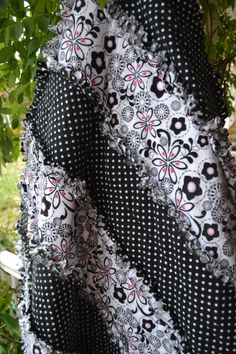 Handmade Rag Quilt Flannel Black and White by TrueloveQuiltsForYou
