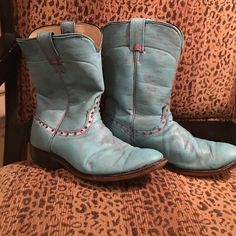 Vintage Upcycled One-of-Kind Laredo Ropers ❤️ No one else will have these at the rodeo!! This is a pair of vintage Laredo Ropers that were Upcycled and blinged out. Weathered Turquoise with pink Swarovski crystals, size 8 in women's. Larado Shoes Heeled Boots