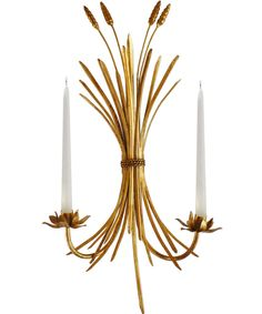 Trad-Glam Wheat Sheaf Sconce // brass candelabra sconce