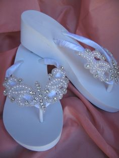White Wedge Flip Flops with Crystals and Beading by ABiddaBling, $69.99