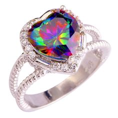 Silver Plated Heart Cocktail Ring Mystic Topaz Cubic Zirconia Size 10 11 12 13 #Unbranded #Cocktail