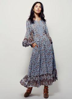 NEW Free People blue brown Lace Up Ruffled Swing Prairie Maxi Dress 12 #FreePeople #Maxiruffleswingdress #Casual