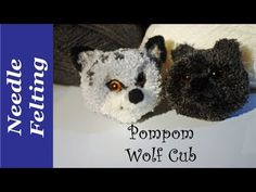 Pompom wolf cub. A needle felted pompom dog - YouTube