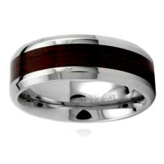 Stainless Steel Men's Wood Inlay Ring | Overstock.com Shopping - Big Discounts on West Coast Jewelry Men's Rings