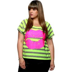 Striped Neon Lips Top - FOREVER 21