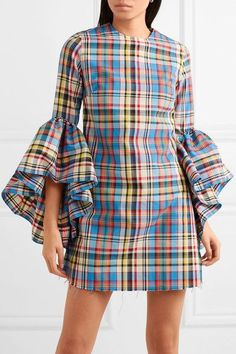 Find and compare Janis ruffled frayed plaid poplin mini dress across the world's largest fashion stores! African Print Fashion, African Fashion Dresses, African Dress, Fashion Outfits, Fashion Tips, Fashion Hacks, Stylish Dresses, Cute Dresses, Casual Dresses