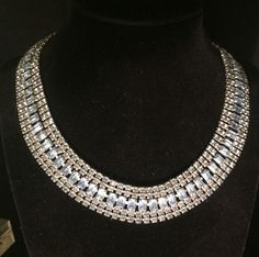 Vintage Light Blue Rhinestone Cleopatra Necklace Collar Choker Silvertone #Choker