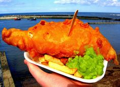 Fish, chips and mushy peas! Just like the Brits do it!