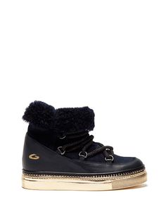EMPIRE SNOW BOOTS IN BLUE LEATHER AND SUEDE WITH SHEARLING PADDING