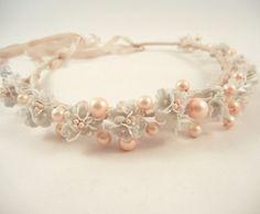 SWEET CLARICE Vintage Bead Flower Bridal Wreath by ZoeGraceBlooms, $32.00