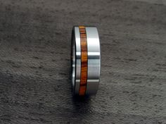 Titanium+and+Wood+wedding+ring++Offset+Rosewood+by+hersteller,+$179.00