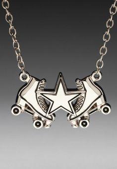 "Rock Rebel Chrome Derby Girl Roller Derby Star Pendant 18"" Fashion Necklace"