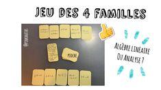 Jeu des 4 familles en maths #algèbrelinéaire #maths - YouTube Page Facebook, Math Work, Blog, Families, Mathematical Analysis, Gaming
