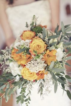 bouquet/ideas for incorporating some white, add some cranberry? The green added lightens up a bit??