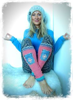 PINK Leg warmers SNOWFLAKE Pastel Sweater leg Warmers by GPyoga
