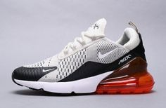 88e594cc78bd Mens Womens Nike Air Max 270 Sneakers Black Hot Punch White Light Bone