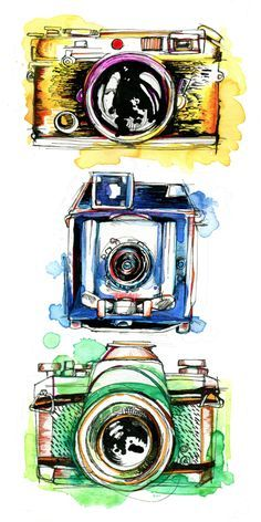 Linhof, Yashica, and Leica. I love drawing cameras- these little devices have so much personality.