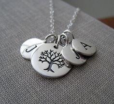 jewelry with initials | So Sweet Jewelry! / Family tree necklace with initials for each family ...