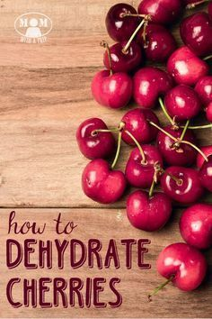 HOW TO DEHYDRATE CHERRIES -- Cherry season is awesome.but when you have more than you can eat, what can you do with them? It's super easy and they are versatile to use in dehydrated form! Canning Food Preservation, Preserving Food, Dry Food Storage, Storage Ideas, Kitchen Storage, Cherry Season, Cherry Recipes, Dried Cherries, Dried Fruit