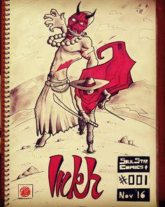 Inkh hunting Oni  insta @ricardo7ve  #Inkh #swordslinger #wildwest #wildeast #characterdesign #comicbooks #comics #comicbookcovers #manga #oni #onihunter #demon #demonhunter #cowboy #samurai #katana #ink #art #sketchbook