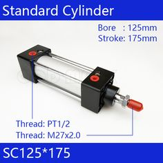 Standard air cylinders valve 125mm bore 175mm stroke SC125*175 single rod double acting pneumatic cylinder #Affiliate