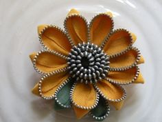 Yellow Sunflower Up Cycled Flower Zipper Brooch or Hair by Rezipit, $23.00