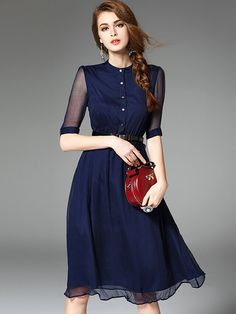 2fa7b9b7d082 Blue Buttons Front Belted A-line Midi Dress