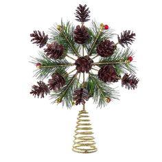 Kurt Adler Gold Glitter Treetop with 19 Pine Cones >> Huge price off! Christmas Tree Toppers, Christmas Decorations, Pine Cones, Gold Glitter, Chandelier, Ceiling Lights, Garden, Flowers, Plants