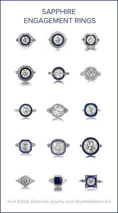 Amazing collection of sapphire engagement rings + other antique rings