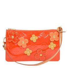 80d9d9f164 Louis Vuitton Orange Sunset Monogram Vernis Limited Edition Lexington  Fleurs Pochette Accessoires