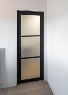steel look glass door with frosted glass - steel look glass door with frosted glass - Interior Modern, Home Interior Design, Aluminium Glass Door, Front Door Design Wood, Dark Doors, Inside Doors, Bathroom Doors, Steel Doors, Home Decor Kitchen