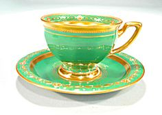 Lovely Dresden Lamm Demi Cup and Saucer Green Gold. Click on the image for more information.