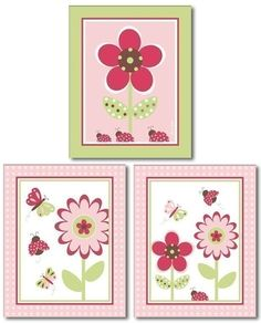Set of 3 prints Berry Garden Flowers Butterflies by smileywalls, $18.90