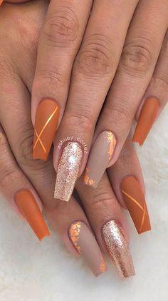 Orange Nail Designs, Fall Nail Designs, Acrylic Nail Designs, Matte Nail Art, Fall Acrylic Nails, Autumn Nails, Blue Coffin Nails, Gold Nails, Maroon Nails