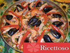 Paella mista, Ricetta Petitchef Paella, Vegetable Pizza, Curry, Chicken, Meat, Vegetables, Food, Curries, Vegetable Recipes