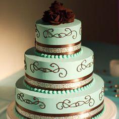 Blue & Brown wedding cakes