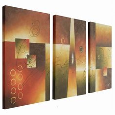 Wake up your home decor with this sensationally stylish modern abstract oil painting. This gallery-wrapped wall art has an eye-catching and colorful design that travels across three canvases to create a vivid focal point on your modern wall.