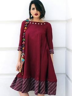 Need inspiration to rule navratri with these impeccable outfit styles? Explore 20 Ways to Jazz Up your Navratri Look with an Indo-Western Twist! Western Outfits For Women, Western Dresses, Clothes For Women, Kurta Designs, Blouse Designs, Ethnic Kurti, Casual Dresses, Fashion Dresses, Frock Design