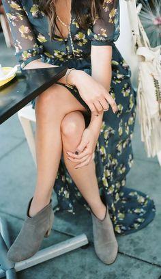 #fall #fashion / floral print maxi dress + booties