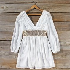 Sweet sparkling sequins adorn this darling white party or New Years dress from Spool No. White Chiffon, Chiffon Skirt, Work Party Dress, White Dress Winter, Winter White, Snow Dress, Christmas Party Outfits, New Years Dress, Boho Outfits