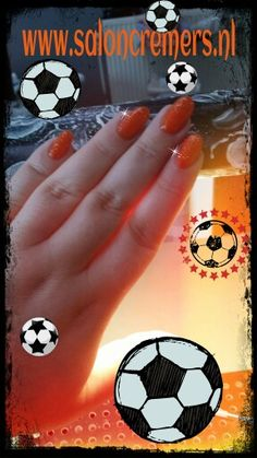 Wk soccer nails holland orange with gold glitter nail art