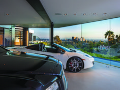 A  garage with a vie