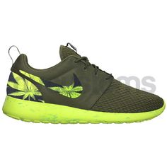 sale retailer be93b 42520 Nike Roshe Run Olive Green Marble Marijuana Leaves by NYCustoms Air Max 90, Nike  Air